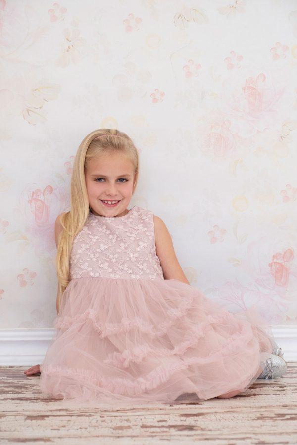 Punanki Kids Clothing All Pink Embroidered Dress