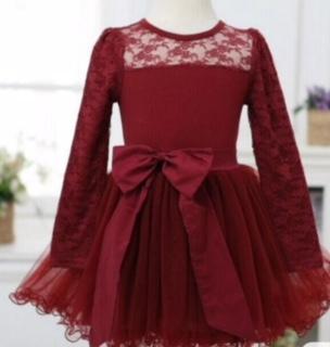 Punanki Kids Clothing END OF RANGE SALE Maroon Lace Dress