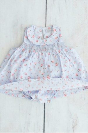 Blue Blossoms Smocked Babygro