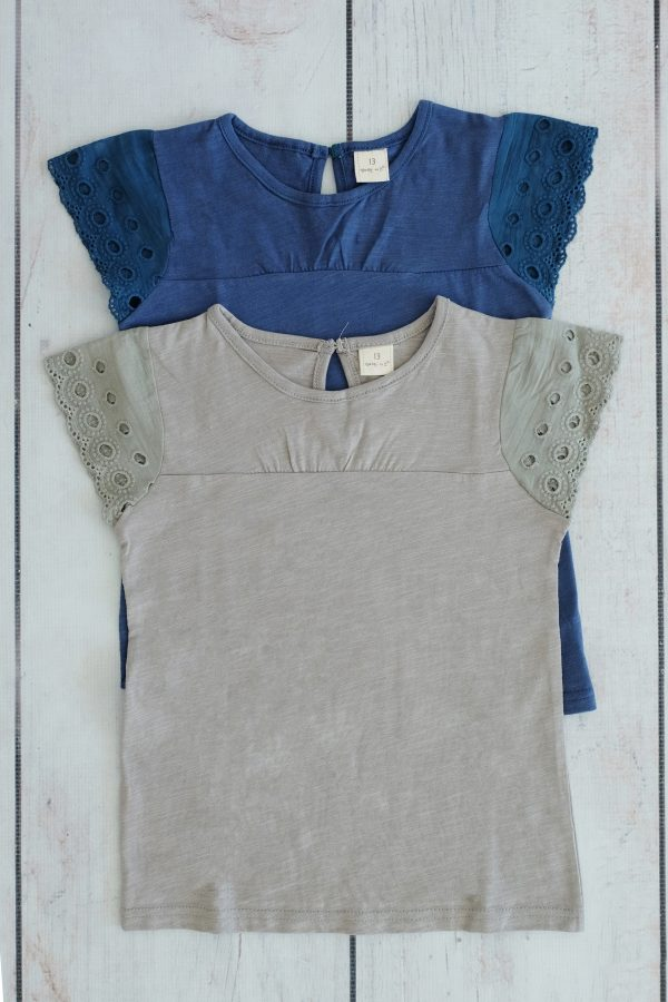 Punanki Kids Clothing Girls Blue Lace Top