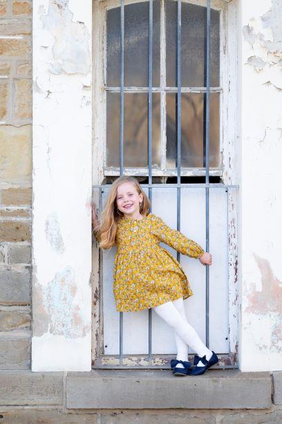 Punanki Kids Clothing Girls Mustard Floral Dress