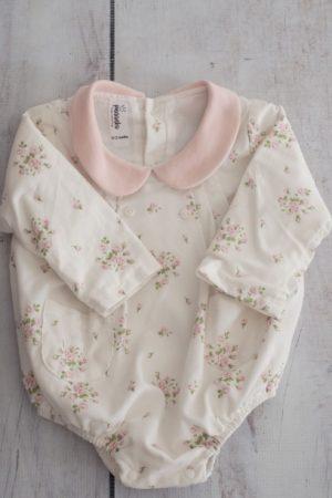 Floral Pink & White Babygro