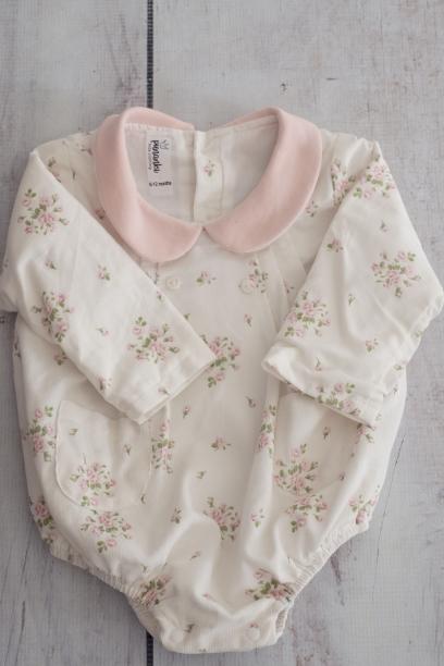 Punanki Kids Clothing Baby Girls Floral Pink & White Babygro