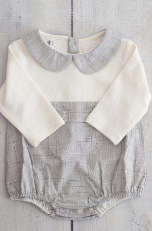 Punanki Kids Clothing Girls Grey & White Babygro