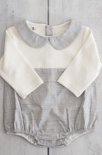 Punanki Kids Clothing Baby Girls Grey & White Babygro