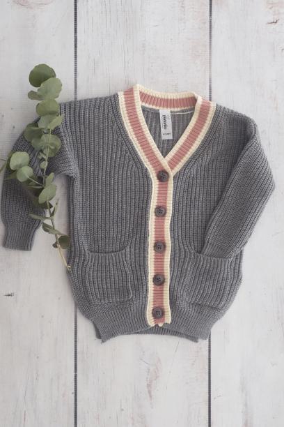 Punanki Kids Clothing Girls Pink & Grey Knitted Jersey