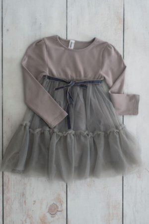 Punanki Kids Clothing Girls Grey Dress With Ribbon