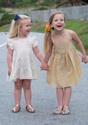 Punanki Kids Clothing Girls Mustard Polka Dress
