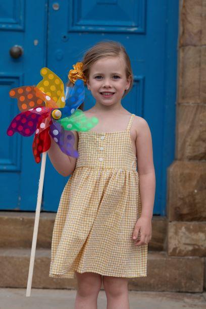 Punanki Kids Clothing Girls Mustard Check Dress