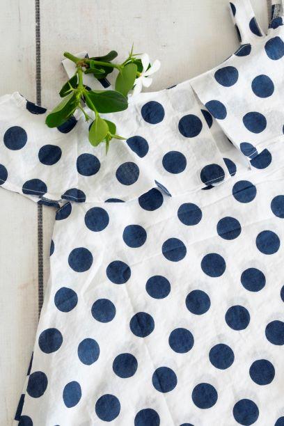 Punanki Kids Clothing Girls Navy Polka Dot Dress