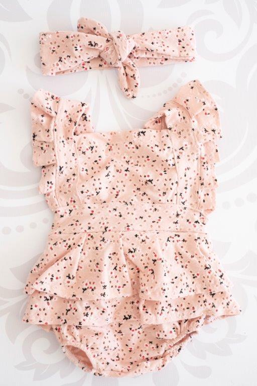 Punanki Kids Clothing Baby Girls Pink Vintage Flair Romper